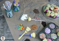 Cupcake fondue = Genius! Bake mini cupcakes, skewer them (with wooden skewers, plastic flatware, or super cute paper straws), and dip them in a variety of frostings and toppings.(Cupcake Fondue :: HoosierHomemade.com)