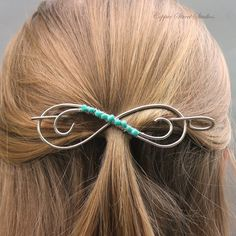 Sleek Silver Hair Pin Hair Clip Turquoise by CopperStreetStudios