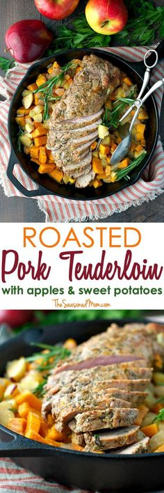 Serve this Roasted Pork Tenderloin with Apples and Sweet Potatoes for a quick 30-minute meal on your busiest weeknights! It's a light, fresh, and easy dinner that cooks entirely in one pan! #RealFlavorRealFast #ad