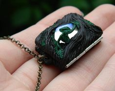 small medallion book medallion elven necklace fantasy theme tree decoration with glass cabochon and leaves