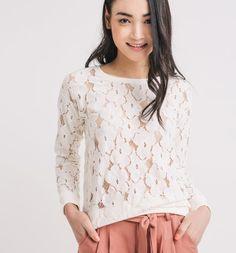 Sweat-shirt en dentelle Femme ecru - Promod
