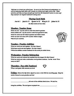 Playing Card Math is a wonderful Math practice tool for your new kiddos or the ones that are moving on!  A letter for