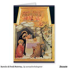 Bartolo di Fredi Nativity card, Latin text Greeting Card