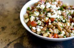Pinto bean and hominy salad--or blackeyed peas-- Homesick Texan Asian Recipes, Mexican Food Recipes, Healthy Recipes, Healthy Foods, Salad Bar, Soup And Salad, Hominy Recipes, Hominy Casserole, Stuffed Peppers
