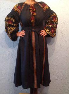 FREE SHIPPING!!!!!! Ukrainian Boho Embroidered Women's Maxi Dark Blue Dress - Vyshyvanka/ Ukrainian Embroidery/Folk/Sarafan/Arabian Thobe Silk Dress, Bohemian Style, Blouses For Women, Blue Dresses, Dark Blue, Folk, Embroidery, Free Shipping, Indigo Blue