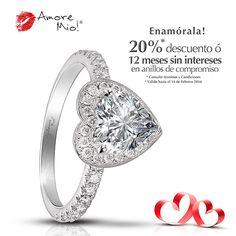 11ac96afc7c4 Amore Mio! ANILLOS DE COMPROMISO · Anillo de Oro Blanco 14kt WG1430203  Diamante Corazón 0.91 quilates. Color- H