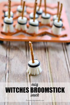 Make this Edible Witches Broomstick Craft as a fun Halloween snack idea for kids! This Halloween food also doubles as a fun craft activity and is perfect for a party too!