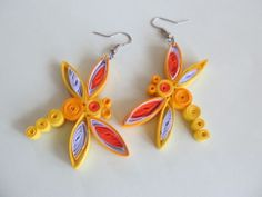 new, unique, quilling, earrings, dragonfly, with a gift