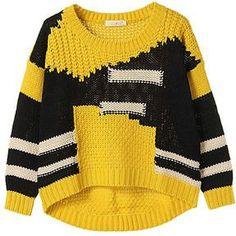 HANDMADE Knit yellow and black sweater