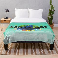 'Earth Day' Throw Blanket by Melikar Earth Day, Floor Pillows, Wall Tapestry, Duvet Covers, Comforters, Blanket, Printed, Bed, Awesome