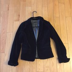 J. Crew Blazer Velvet J. Crew waist length blazer..cuffed at bottom of sleeve..size small..used..small stain on inside lining..please feel free to ask questions or inquire about more pics J. Crew Jackets & Coats Blazers