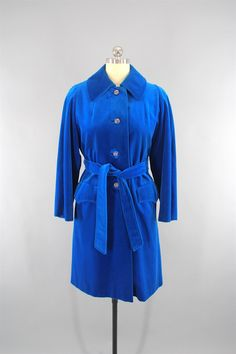 Vintage 1960s Electric Blue Velvet Coat by Surrey Classics Coat