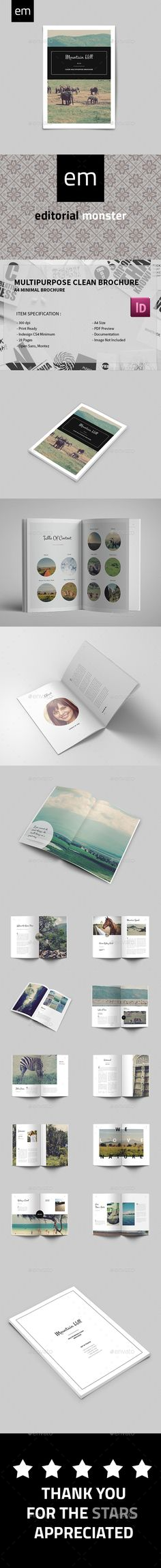 Multipurpose Clean Brochure Template InDesign INDD. Download here: http://graphicriver.net/item/multipurpose-clean-brochure/14776742?ref=ksioks