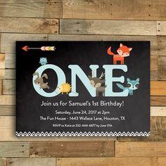 Editable Chalkboard Woodland Fox Friends 1st Birthday Invitation PDF Instant Download Printable