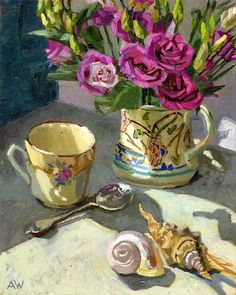 Angie Wood Art: Lisianthus and Two Shells Watercolor Paintings, Flower Paintings, Watercolors, Australian Painters, Holy Mary, Zen Art, Love Art, Pet Portraits, Still Life