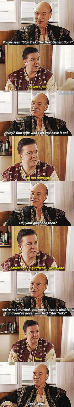 Patrick Stewart & Ricky Gervais. Like I need even more reasons to love Patrick Stewart.