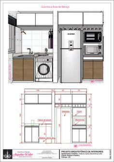 Medidas da cozinha e área de serviço