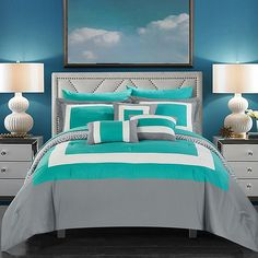 Chic Home Reversible Hotel Collection Queen Size Bed in a Bag Comforte. Chic Home Reversible Hotel Collection Queen Size Bed in a Bag Comforter Set& Turquoise - 10 Piece Queen Comforter Sets, Bedding Sets, Bedroom Comforters, Red Comforter, Aqua Bedding, Bedroom Turquoise, Online Bedding Stores, Bed In A Bag, My New Room