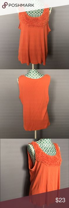 Elle Orange Tank -It has been loved but it's in excellent condition!  -Lovely orange color. 60% Pima Cotton, 40% Modal.  -The ruffles at the neckline upgrade this basic tank!  -Shoulder to hem: 25 inches  -Bust: 40 inches -No trades, pp or lowballs, but feel free to make a reasonable offer! Elle  Tops Tank Tops