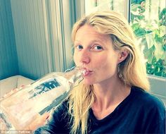 Water fanatic: Gwyneth Paltrow, pictured here in a make-up free selfie on Saturday, credits ice water face dunks with perking up her 'tired and puffy' skin