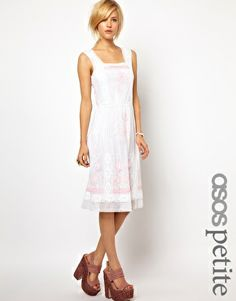 ASOS+PETITE+Exclusive+Midi+Dress+with+Floral+Embroidery