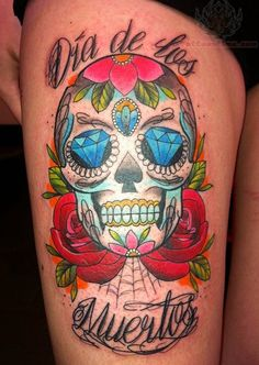 sugar skull with color, diamond eyes tattoo