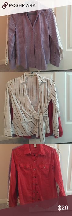 3 long sleeve office shirts M Lavender with silver stripes: express design studio M with buttons down front. White with tan & gold striping: express design studio M with wrap front. Red with white polka dots: forever 21 with snap closure: lightweight. All EUC! They may run a bit small. Smoke free, pet friendly home. Express Tops Button Down Shirts