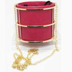Tigerstars l $33.00 Fuchsia Pink Cylindrical Bucket Long Chain Shoulder Bag