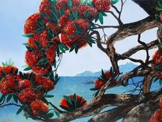 Pohutukawa colour contrast Waiheke Island, Pictures To Paint, Painting Pictures, New Zealand Art, Nz Art, Kiwiana, Mural Wall Art, Beach Landscape, Flower Tattoo Designs