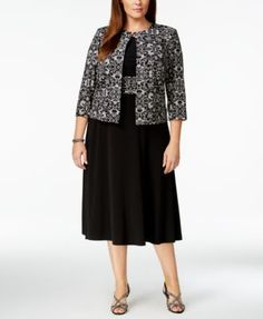 bfc73c64a8a Jessica Howard Plus Size Printed Sequin Jacket and Dress   Reviews - Dresses  - Women - Macy s