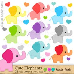 Elephant clipart - Digital Clip Art - Personal and commercial use