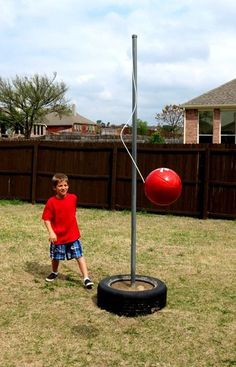 """How to Make a Tetherball. Super inexspensive backyard toy for the whole family. Come on ... harness your inner Napoleon Dynamite. ;) [   """"How to Make a Tetherball. Super inexspensive backyard toy for the whole family. harness your inner Napoleon Dynamite.) I made one of these for my kids and it was one of the most played with garden activities."""",   """"how to make a tetherball game--calls for an old tire and lots of concrete. one of the worse fights of my life was over a tetherball game. She…"""