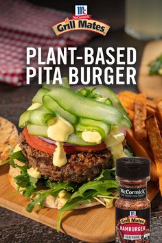 Taste what plants can do in this plant-based pita burger recipe! Season with Grill Mates® Hamburger Seasoning to bring out the bold burger flavor you know and love. Pita Burger Recipe, Hamburger Seasoning, Creamy Mustard Sauce, Plant Based Burgers, Spice Set, Vegan Yogurt, Sliced Tomato, Breakfast Lunch Dinner, Plant Based Protein