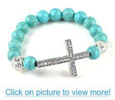 Turquoise Beads Sideways Cross Bracelets Fashion