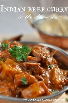 Slow cooked Indian beef curry - Claire K Creations. Delicious and easy to make Indian beef curry. Curry Dishes, Beef Dishes, Meat Dish, Lamb Dishes, Pasta Dishes, Slow Cooker Recipes, Cooking Recipes, Crockpot Recipes, Cooking Tips