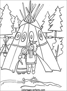 Native American coloring page, maybe for the kids table at Thanksgiving?