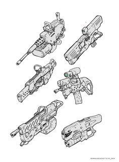 ArtStation - Sketch for fun, Dipo Muh. Robot Concept Art, Weapon Concept Art, Armor Concept, Robot Art, Sci Fi Weapons, Fantasy Weapons, How To Draw Weapons, Future Weapons, Gun Art