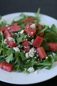 Week of Menus: Watermelon, Arugula, Feta Salad: Sitting down at meals is a luxury