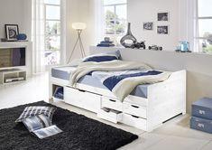 SAM® Holzbett 90 x 200 cm Kiefer massiv weiß gewachst FABIA