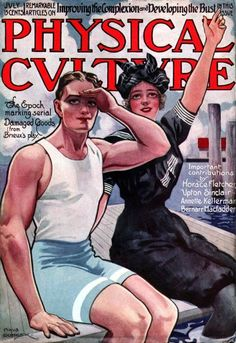 Physical Culture magazine, 1910s    Love her swimsuit, and the illustration is epic too