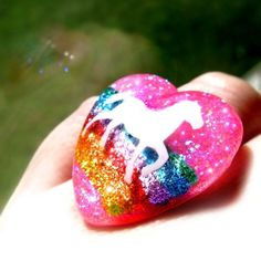 Glittery Heart Shaped Ring Full of Rainbows and a by isewcute, $17.50