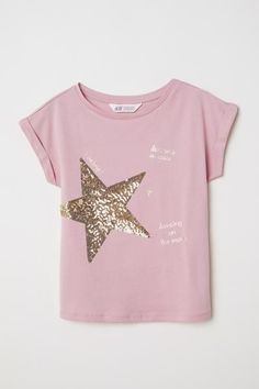 H&M T-shirt with Motif – Pink - T-Shirts & Sweaters 2019 Girls Party Wear, Party Wear Dresses, Diy Shirt, Sweater Shirt, Diy Tank, Girls Tees, Shirts For Girls, T Shirt Painting, Kids Fashion