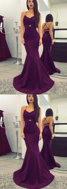 Mermaid V-Neck Criss-Cross Straps Sweep Train Purple Prom Dress. Formal  Evening DressesFormal GownsBackless ... 73dc1f928ddf