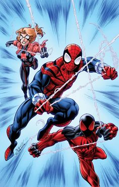 Sensational Spider-Man (Ben Reilly), Scarlet Spider (Kaine) and Ultimate Black Widow (Jessica Drew) - Scarlet Spiders Variant #1 Cover by Mark Bagley