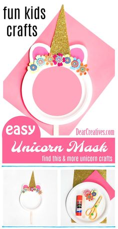 Are you looking for unicorn crafts to make? Or fun kids crafts? You'll want to see them all. My favorite paper plate craft is this unicorn mask diy to make with the kids. See them all at DearCreatives.com #unicorncrafts #kidscrafts #funkidscrafts #paperplatecraft #unicorn #kids #crafts #kidsactivities