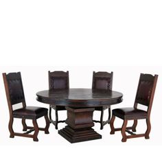 Mexican Dining Round Table Set Dark Stain Brown Solid Wood w/ Leather Chair 5 PC Mexican Decorations, Mexican Home Decor, Mexican Furniture, Home Decor Furniture, Dark Stains, Home Accessories, Solid Wood, Table Settings, Dining Table