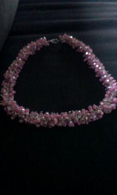 Gekettelde ketting met roze kralen