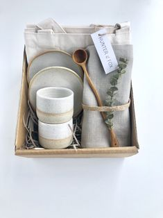 Excited to share this item from my #etsy shop: Espresso Gift box set White Cups, Wooden Spoons, Ceramic Cups, Cup And Saucer Set, Tea Towels, Twine, Gift Tags, Espresso, Fox