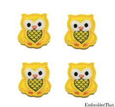 Yellow and Grey felt Owl applique embellishments by EmbroiderThat, $4.25