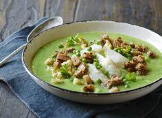 Grøn blomkålsuppe med torsk